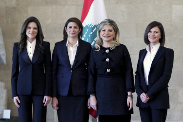 Members of Lebanon's new government: Minister of State for Social and Economic Rehabilitation for Youth and Women Violette Safadi, Interior Minister Raya al-Hassan, Minister of State for Administrative Development May Chidiac and Minister of Energy and Water Nada Boustani Khoury.
