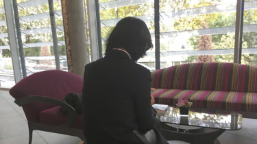 Grace Meng, the wife of former Interpol President Meng Hongwei, who does not want her face shown.