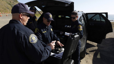 Members of the Alameda County Sheriff's Office drone team during a search for the three missing children.