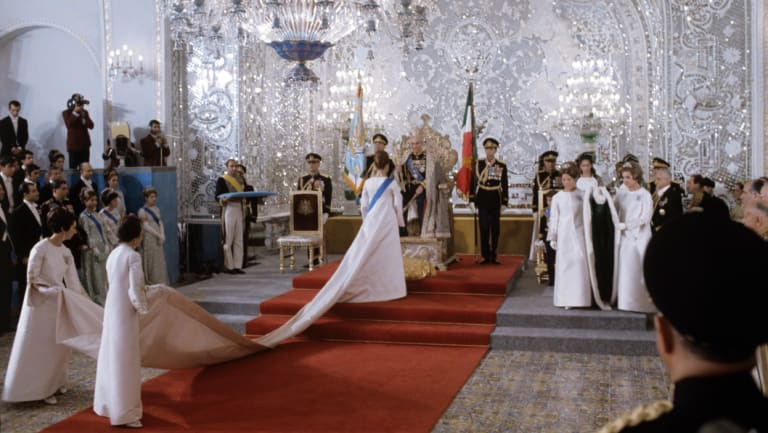 The 1967 coronation ceremony in which Farah Pahlavi was crowned Empress of Iran.