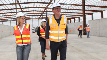 Transport Minister Jacinta Allan (left) and Premier Daniel Andrews tour the West Gate Tunnel site in December.