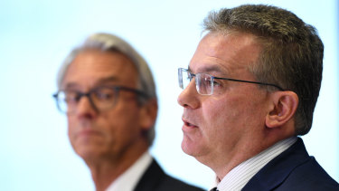 Discussions continuing: FFA chairman Chris Nikou, front, and CEO David Gallop.