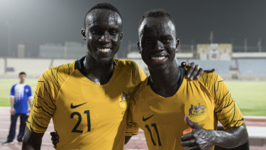 Thomas Deng and Awer Mabil, childhood friends who bonded as kids in Adelaide after coming to Australia from South Sudan, after their debuts for the Socceroos.
