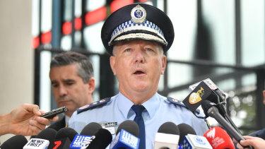 NSW Police Commissioner Mick Fuller addresses the media on Wednesday after Chris Dawson's arrest.
