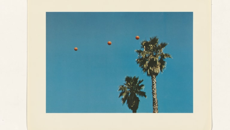 John Baldessari (no title), from 'Throwing three balls in the air to get a straight line (Best of thirty-six attempts)', 1973, (detail), offset lithograph, 24.2 x 32.2 cm, National Gallery of Australia, Canberra, purchased 1981.