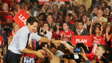 Trudeau campaigns ahead of the Canadian election of October 21,