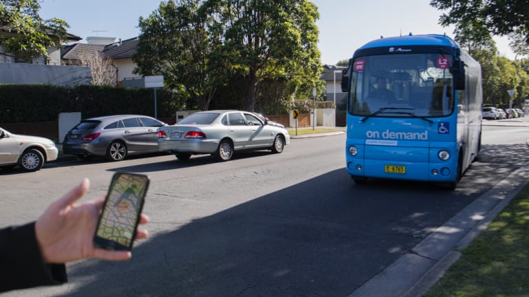 Passengers can use apps on their mobile phones to book the buses.