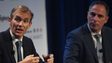 NSW Education Minister Rob Stokes, left, and Labor's education spokesman Jihad Dib agree on the need to review significant elements of the current schooling system at the Herald's Schools Summit on Monday.