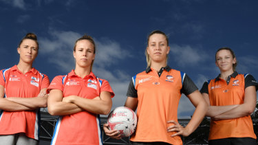 Derby day: NSW Swifts star Paige Hadley (second from left) is determined to defeat the Giants, who have won three of the teams' last four encounters.