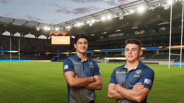 State of the art: Eels stars Dylan Brown and Reed Mahoney at Bankwest Stadium.