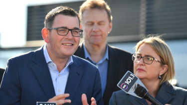 With Evan Tattersall behind him, Premier Daniel Andrews announces the rail line on Tuesday morning.