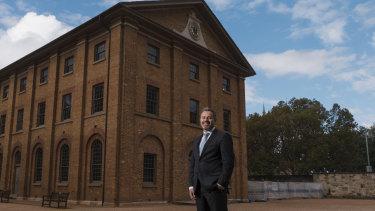 Mark Goggin, Sydney Living Museums director outside Hyde Park Barracks.