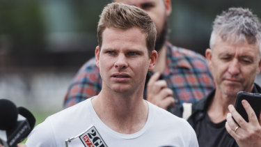 Steve Smith fronts the media at the SCG.