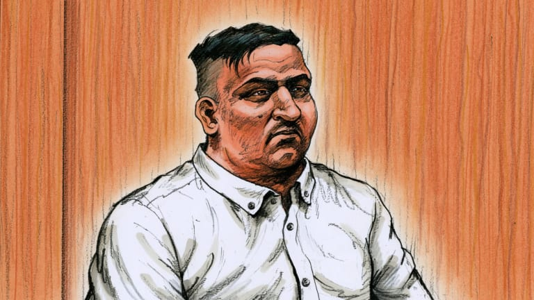 A sketch of James Gargasoulas in court