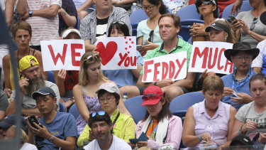 The Melbourne crowd shows its love for Federer.