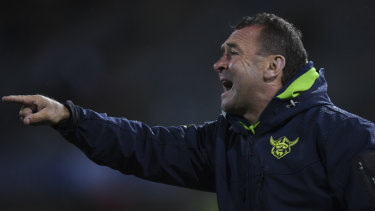 Stirring the pot: Vocal on the sidelines at GIO Stadium, Ricky Stuart was the last man to coach the Eels to a wooden spoon.