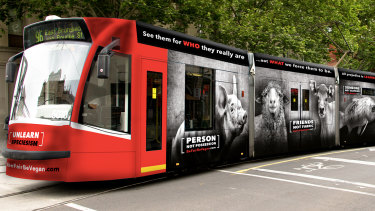 An artist impression of the Be Fair Be Vegan campaign that was dropped by Yarra Trams.