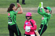 Tess Flintoff and Nicole Faltum of the Stars celebrate the wicket of Nicole Bolton.