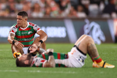 Dane Gagai can't hide his agony after the Rabbitohs' defeat to Penrith in the 2020 preliminary final.