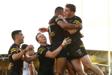 Penrith players celebrate win No. 8 in Bathurst last weekend.