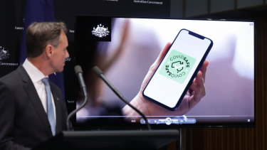 Minister for Health Greg Hunt during a press conference on a tracing app.