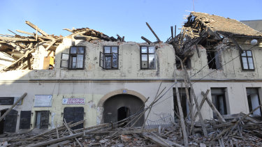 A building damaged in an earthquake, in Petrinja, Croatia.