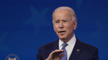 President-elect Joe Biden speaks at The Queen Theatre in Wilmington, Delaware on Tuesday.