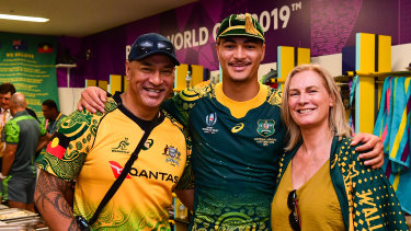 Jordan Petaia and his parents after Australia's 45-10 win over Uruguay at last year's Rugby World Cup.