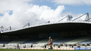 Final siren: Carlton's Sarah Hosking in action during the AFLW semi-final clash against Brisbane Lions on Sunday, before the decision was announced to cancel all further games.
