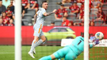Lopar denies an effort from Roar striker Roy O'Donovan.