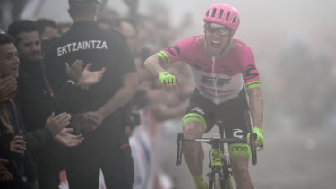 Canada's Michael Woods celebrates his gruelling victory in the 17th stage of the Vuelta.