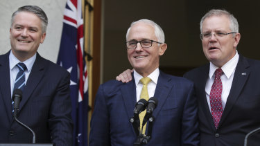 A day earlier, it was a happy camp for Prime Minister Malcolm Turnbull with Mathias Cormann and Scott Morrison.