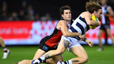 Only three of St Kilda's 87 tackles were rewarded with holding the ball on Friday night.