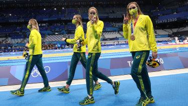 Bronze medalists Ariarne Titmus, Emma McKeon, Madison Wilson and Leah Neale.