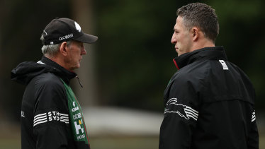 Rabbitohs head coach Wayne Bennett (left) says he was unaware of any of the allegations against Sam Burgess.