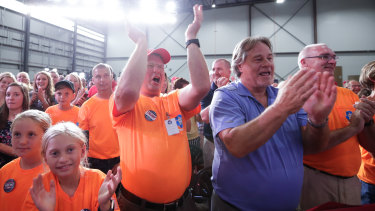 The gathering exploded into a Trump political rally as soon as the President took the stage.