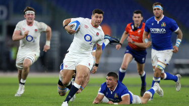 Ben Youngs of England makes a break to score his sides second try  during the 2020 Guinness Six Nations match between Italy and England at Olimpico Stadium on October 31, 2020 in Rome, Italy.
