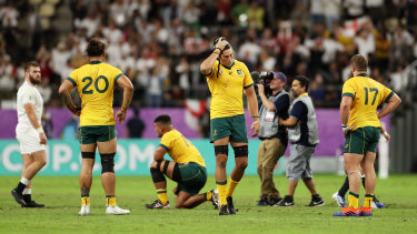 The Wallabies reel after their heavy quarter-final loss to England.