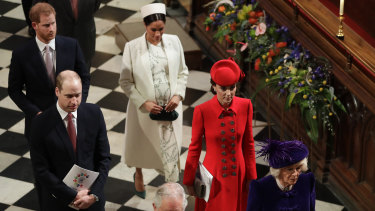 Members of Britain's Royal family leave after attending the Commonwealth Service at Westminster Abbey in London.