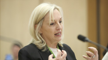 Christine Holgate giving evidence at Senate estimates in October, when she revealed her office had purchased Cartier watches for four employees.