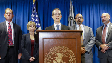 Benjamin Glassman, US Attorney of the Southern District of Ohio, at a news conference in Cincinnati.
