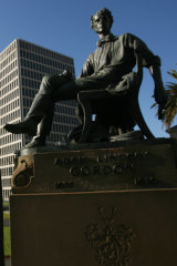 The Adam Lindsay Gordon statue in Spring Street, Melbourne