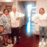 Gladys Berejikilian and her parents, Krikor and Arsha, on Father's Day, 2020.