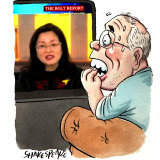 Liberal MP Gladys Liu had a difficult interview on The Bolt Report. Illustration: John Shakespeare