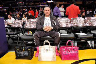 "David ""Vegas Dave"" Oancea with his collection of Birkins, which he regularly takes to LA Lakers NBA games."