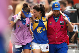 Ashton Hill of the Eagles was one of three players to rupture an ACL at the weekend