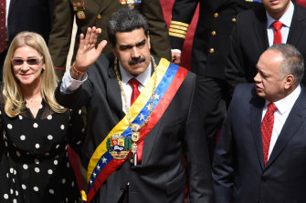 Nicolas Maduro arrives to deliver his annual address on January 14.