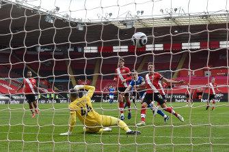 Brighton's Leandro Trossard beats Southampton keeper Fraser Forster.