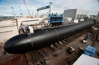 A US Virginia-class attack submarine under construction in 2012.