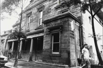 A historical photo of the old Wesley Chapel in Bourke Street from 1984.